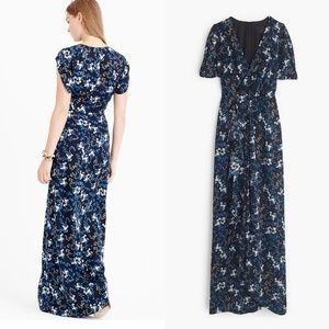 J. Crew Petal Sleeve Gown Nightfall Freesia Dress